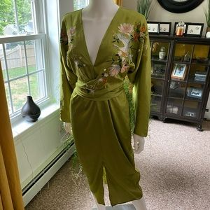 NWT Asos satin batwing midi dress Asian kimono